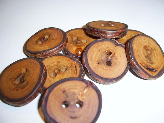 """9 Handmade birch wood Tree Branch Buttons with Bark, accessories (1,1"""" diameter x 0,2"""" thick)"""