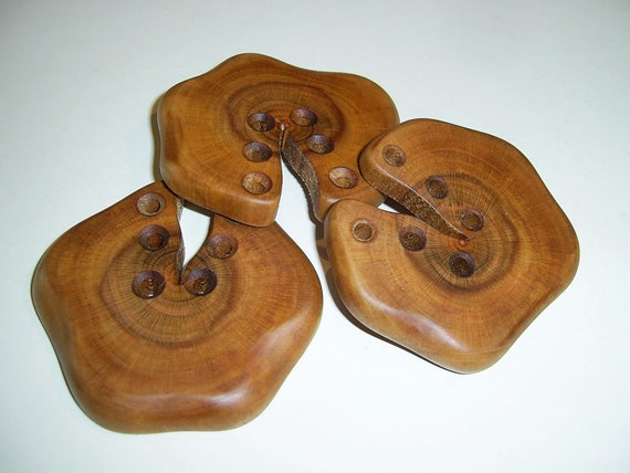 """3 Handmade plum  wood large buttons, accessories (2,56"""" diameter x 0,31"""" thick )"""
