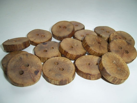 "16 Handmade oak wood buttons , accessories (0,87"" diameter x 0,16"" thick)"