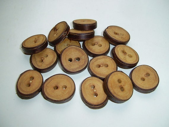 16 Handmade  cherry wood Tree Branch Buttons with Bark, accessories