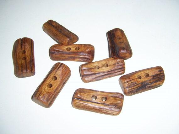 8 Handmade  oak wood buttons, accessories