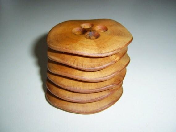 6 Handmade  plum  wood buttons, accessories