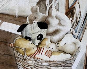 a bushel of teddies giclee print