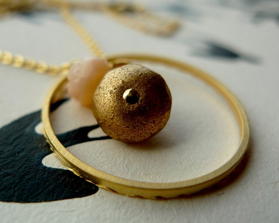 Gold plated ring necklace with vintage beads