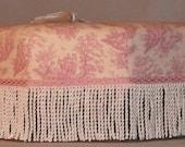 Pink Toile Upholstered Foot Stool- Footstool - Ottoman HALF PRICE SALE