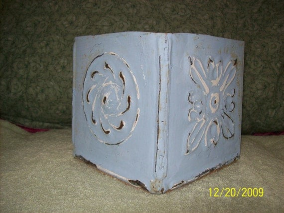 Square Plant or CD HOLDER (in old tin)