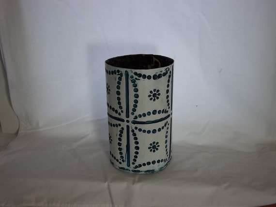 DEEP INKY BLUE Dots waste basket in old tin