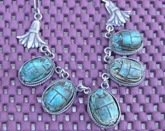 Vintage Scarab beetle egyptian Sterling Necklace