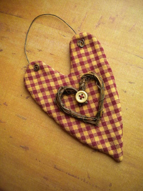 Primitive HEART Ornament - Burgundy Cream Checked Fabric - Folkart