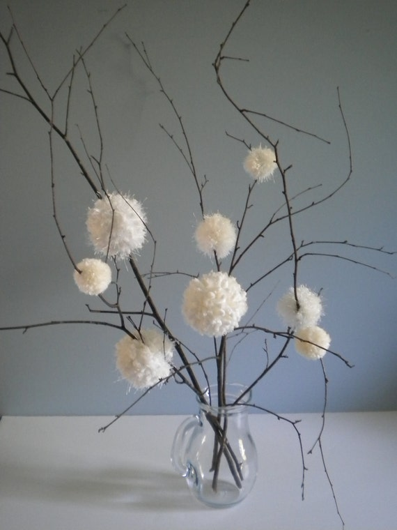 First Snowfall - Winter White Puffy Flowers - Simple - Elegant - Real Tree twigs - White Wedding
