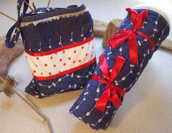 American Girl Sleeping Bag in embroidered denim