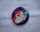 Upcycled Stimpy Polymer Clay Pendant