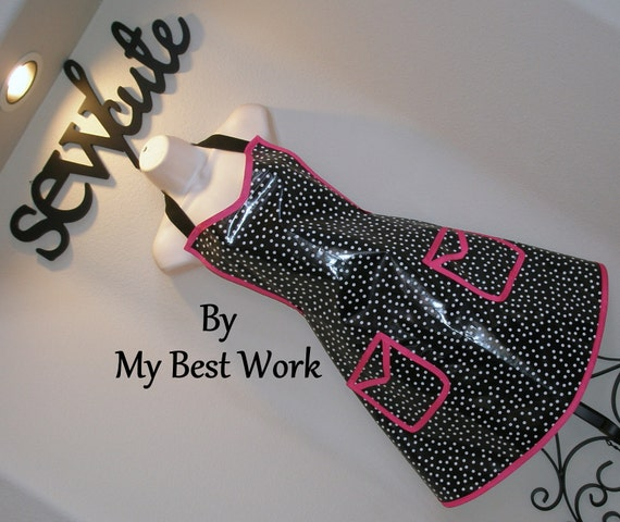 Pink Black and White Waterproof Apron - B5474A-2