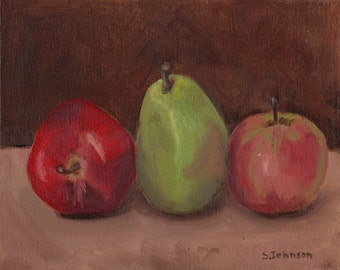 Apples and Pear 8.5 x 11 original oil painting
