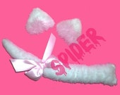 White Faux Fur Kitty Ears and Tail Set Cat Ears Hair Clips Manga Cosplay Accessories