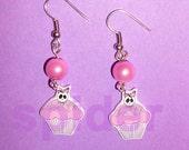 Pink Skull Cupcake Deadsie Cakes (tm) Dangle Earrings Cute Gothic Accessories