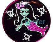 Franken Mermaid  (tm) Pink 1 inch buttons pins  1 inch pins Cute Gothic accessories Button
