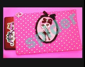 Creepy Cotton Candy TM Pretty Pink Polka Dot Cameo Computer Laptop Zipper Bag Sleeve Cover 15 inch to 18 inches