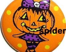 Jackie Lantern (tm) Cute Pumpkin Head Girl  Jack-O-Lantern Cute Gothic Accessories Halloween Button 1 inch buttons