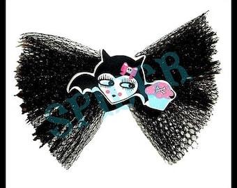 Battycakes (tm) Cute Bat Cupcake Tulle Hair Bow Cute Hair Bows Gothic Accessories cupcakes