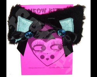Meow Kitty Glamour Kitty Bling Cat Ears Hair Clippies Black Powder Blue Cat Hair Clips Kitty Ears Manga Anime