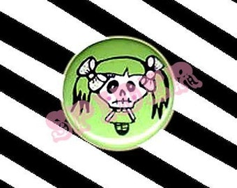 Miss Muerto Day of the Dead Skeleton Girl 1 inch Buttons Pin