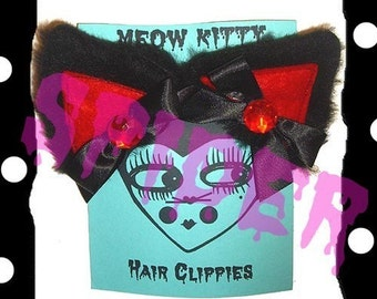Meow Kitty Glamour Kitty Hair Clippies Black Fur Red Rhinestone Cosplay Cat ears