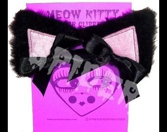 Meow Kitty  Black  Faux Fur Baby Pink Cat Ears Manga Cosplay Ears Hair Clips