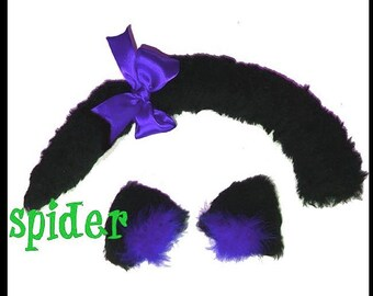 Meow Kitty FooFoo Faux Fur Black Cat Ears and Cat Tail Set with Purple Bow Kitty Tail Cosplay Accessories Gothic Accessories