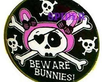 Beware Bunnies (tm) Pirate Bunny 1 inch buttons pins  Skeleton Bunny 1 inch pins Gothic accessories Cute Pirate Button