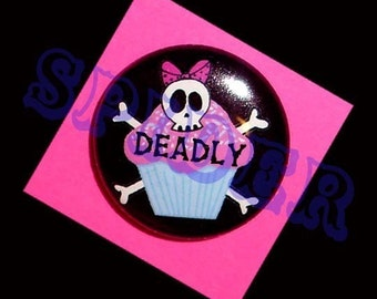 Deadly Cupcakes (tm) Pirate Skull Cupcake 1 inch buttons pirates Gothic Accessories Goth Pink Cupcake Button