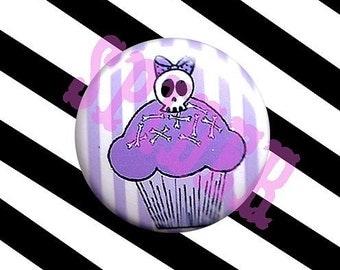 Deadsie Cakes (tm) Skull Cupcake Lavender Candy Stripe Cupcake girly Skulls 1 inch button