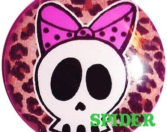 Deadly Deadsie (tm)  Skull with Polkadot Bow Leopard Button 1 inch buttons 1 inch pins Gothic Buttons Gothic Accessories