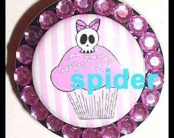 Deadly Cupcake (tm) Skull Cupcake Badge Holder Retractable ID Reel Gothic Accessories Goth Nurse Badge Holder