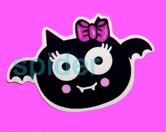 Spooky Bat (tm) Swoopella (tm) The Original Baby Bat Die Cut Sticker  Stickers Pink Die Cut