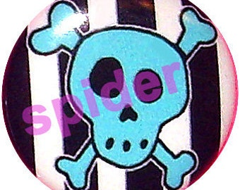 Jolly Roger Blue Skull Black and White Striped Button Pins 1 inch Buttons