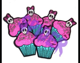 Deadly Cupcake TM Little Cupcake Patch Pink and Blue Deadsie Skull Cupcake Embroidered Patch Yummy
