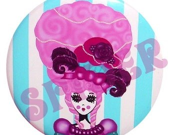 Marie Antoinette 225 inch Pocket Mirror  Candy Striped Mirrors Gothic Accessories  Let them Eat Cupcakes Cake
