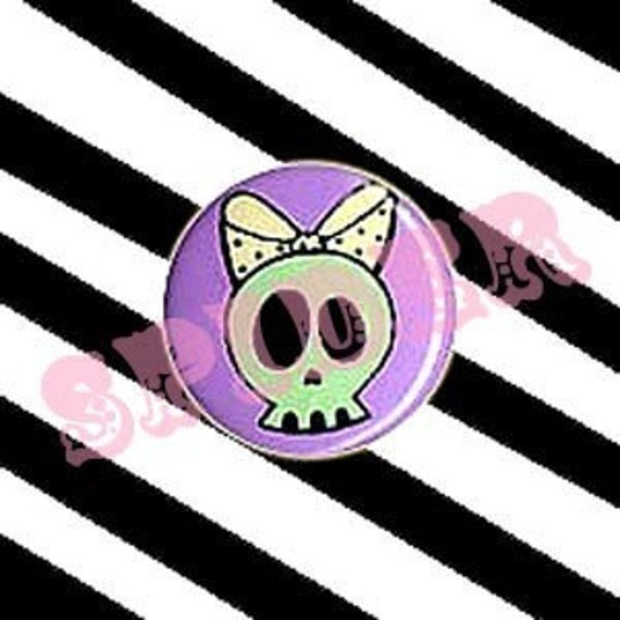 Skull Bow Deadsie 1 inch Button Pin Mint and Lavender gothic buttons gothic accessories Spooky Kawaii