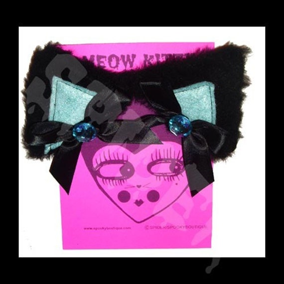 Meow Kitty Glamour Kitty Bling Cat Ears Hair Clippies Black Powder Blue Cat Hair Clips Kitty Ears Manga Anime
