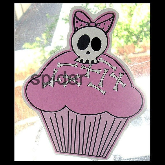 Deadly Deadsie (tm) Cakes Skull Cupcake Skull Bow Window Cling Clings  Gothic Accessories Decals Decal