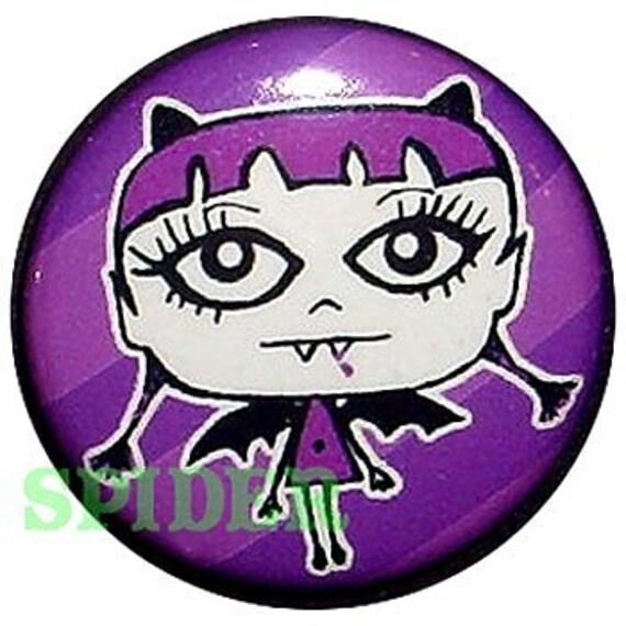 Vampire Bat Girl Drippy 1 inch button Purple Striped Gothic Accessories Gothic Buttons Spooky Halloween Pins