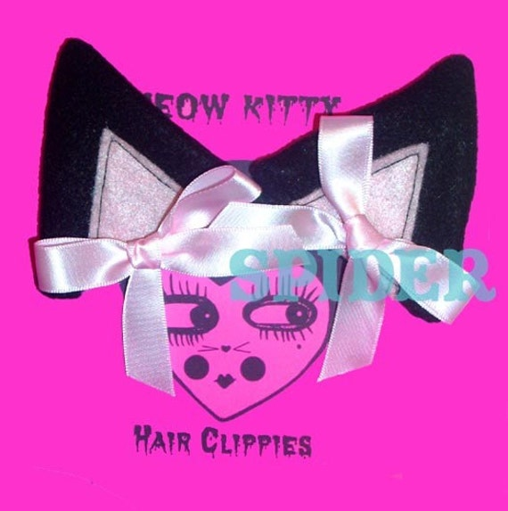 Meow Kitty Black Cat Ears Felt Kitty Ears with Pink Bows Cosplay Accessories Cute Gothic Accessories