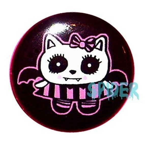 Vamp Kitty Button 1 inch buttons pins Gothic Accessories Spooky Kawaii Cute Kitty Pin