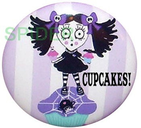 Scary Cupcake (tm) 1 inch Button Spooky Cupcakes (tm)  Gothic Accessories Goth