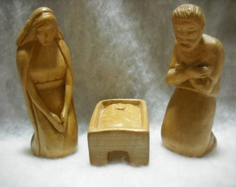 Hand Carved 3 Piece Nativity Set in Natural Basswood