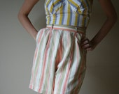 50s Shorts Pastel Striped High Waisted Hot Pants White Cream Pink Yellow Taupe Size Extra Small-Small xs sm (00-0-2)