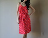 70s Chevron Striped Sundress Summer Dress Spaghetti Straps Nipped Waist Cherry Red Size Small-Medium sm med md (0-2-4)
