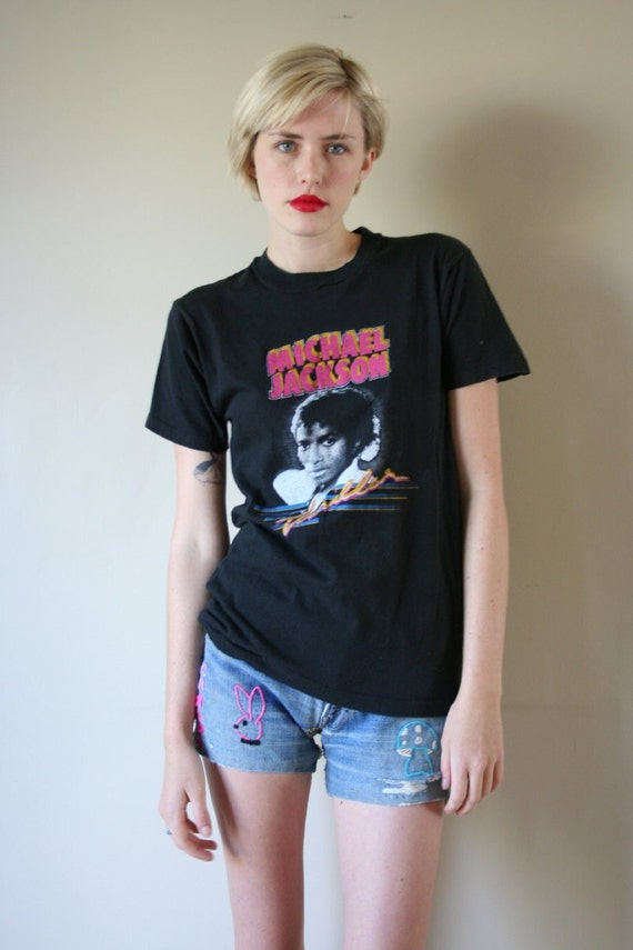 LAST CHANCE 80s Tshirt Michael Jackson Thriller Tour Rock Concert T Shirt Unisex Small-Medium sm med md (0-2-4-6)