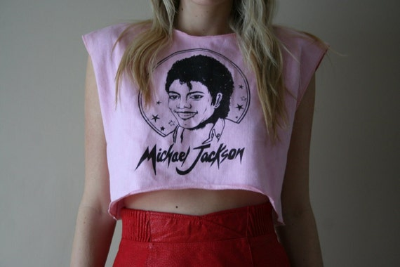 80s Michael Jackson OVERSIZED Crop Top Tshirt Size Small-Medium-Large sm med lg (0-2-4-6)